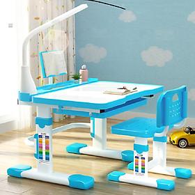 Bộ bàn học sinh tiểu học - Full bộ bàn, ghế, đèn học - Tặng kèm hộp bút màu nước