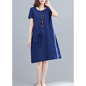 Đầm suông cổ tròn phối túi hộp LAHstore, chất đũi mềm mát thấm hút mồ hôi, thời trang phong cách Hàn