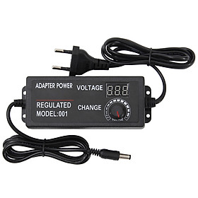 AC to DC Adapter 3V-24V 2A Universal Adjustable Electricity Charge with Display Screen Regulated Voltage (EU 3V-24V 2A)
