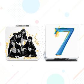 Gương Mini BTS in hình và chữ kí các thành viên gương vuông hai mặt