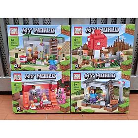 Set 4 Hộp Minecraft My World Lắp Ráp Xếp Hình Sáng Tạo 4in1 Mô Hình Khu Vườn 2 Tầng - Đồ Chơi Trẻ Em