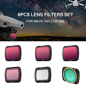 for DJI Mavic Air 2 Drone 6pcs Lens Filter Set MCUV CPL ND4 ND8 ND16 ND32 Filter Combo Multi-coated Filters Camera Lens