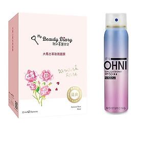 Combo Hộp Mặt Nạ Hoa Hồng Damascus My Beauty Diary Damask Rose Mask - Xịt chống nắng Suncreen Air spray Moisturizing SPF50+ ★★ 150ml