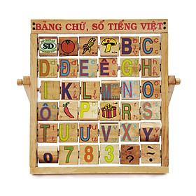 Đồ Chơi Gỗ Thông Minh - Bộ Bảng Chữ Và Số Tiếng Việt Bằng Gỗ Màu Sắc Bắt Mắt - Sản xuất tại Việt Nam, an toàn, đạt chuẩn Quatest 3 - Dành cho bé từ 3 tuổi trở lên