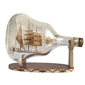 Mô hình thuyền gỗ trong chai N5