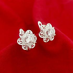 Bông tai nữ Bạc Quang Thản, khuyên tai bạc khóa bật đính đá cobic cao cấp phong cách thời trang phù hợp đeo với mọi lửa - QTBT85