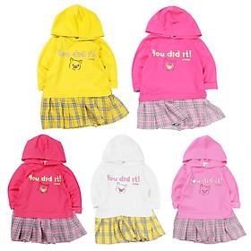 Đầm tay dài có nón in heo con siêu cưng cho bé gái 1-4 tuổi từ 12 đến 18 kg 06376-06380