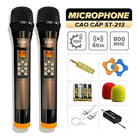 Micro không dây cao cấp C.O.K ST-213 (2 Mic), Dành cho loa kéo & dàn âm ly, Jack 6.5, bắt âm tốt - Hàng chính hãng 100%