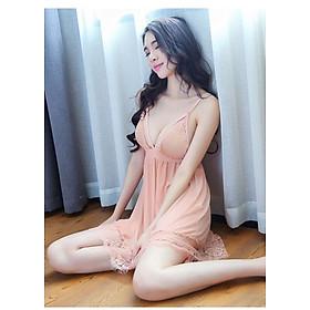 Váy ngủ sexy ren hồng cam nhẹ