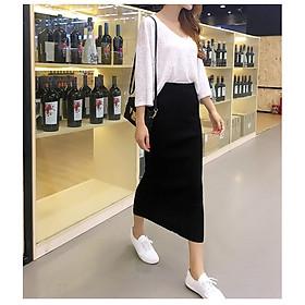 Chân váy midi dài qua gối chân váy len Haint boutique HB02