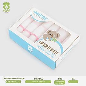 Khăn sữa Mipbi 2 lớp, 3 lớp, 4 lớp 100% cotton tự nhiên (Hộp 6 chiếc)