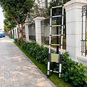 Thang Nhôm Rút cao 4 mét 1 cao cấp hàn quốc tiện lợi nhỏ gọn thang công trình gia đình chất lượng cao phù hợp nhiều loại công việc có chốt cao su an toàn nhôm T6030 đạt tiêu chuẩn châu âu