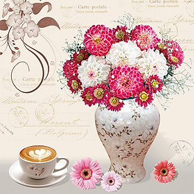 DIY 5D Diamond Painting Pink White Bunch Flowers Rhinestone Embroidery Full Drill Gem Pictures Wall Art Craft and Home