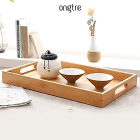 Khay trà bằng tre công nghiệp hình chữ nhật có tay cầm, khay tre phục vụ nhà hàng, khách sạn | ongtre (Vietnam)