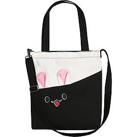 Túi vải tote nữ đeo chéo+xách tay in tai thỏ