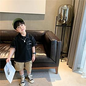 Áo phông màu đen cộc tay có cổ cho bé, Áo polo có cổ in chữ mặc đi học đi chơi cho bé size 12-35kg  - OA075