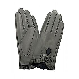 Găng tay nữ da dê cao cấp màu ghi EGW95
