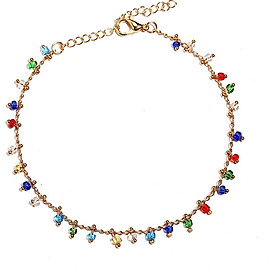 Fashion Simple Iridescent Glasses Beaded Anklet