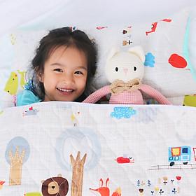 Bộ Nệm Ngủ Cho Bé ( Nệm, Mền, Gối) Vải Cotton Satin Họa Tiết Khu Rừng