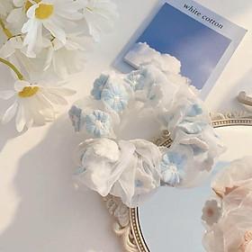 Dây buộc tóc - Scrunchies hoa thêu mẫu mới hàng đẹp HD63