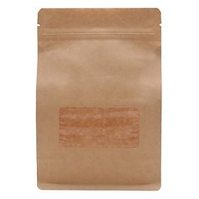 1 ký Túi Zip Giấy Kraft Nâu Đáy Bằng- 8 cạnh  Có Cửa Sổ