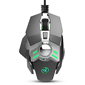 HXSJ J200 Wired Gaming Mouse Seven-key Macro Programming Settings Mouse with Four Adjustable DPI RGB Light Grey