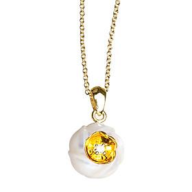 Dây Chuyền Galatea Jewelry Hoa Sứ Plumeria DIP-106.03YW - Trắng