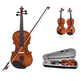 81.0*26.0*12.0cm Violin Natural Acoustic Solid Wood Spruce Flame Maple Veneer Violin Fiddle with Cloth Case Rosin Sets
