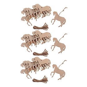 30 Miếng Gỗ Hình Con Ngựa Cắt Ra Vật Trang Trí Tôn Dáng Thẻ Có Dây