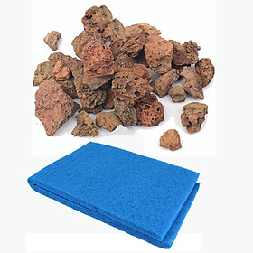 Combo Đá Nham Thạch (1kg) + Xốp Lọc Bể Cá 90X30cm vật liệu lọc, trang trí bể cá
