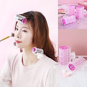 Set 3 Lô cuốn tóc gợn sóng tự dính có kẹp giữ tai thỏ Bunny màu pastel ngọt ngào KT30