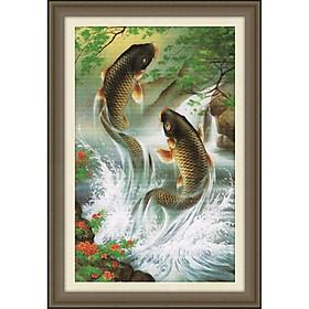 Tranh thêu chữ thập Cá Chép Niên Niên Hữu Dư (78*51cm) chưa thêu