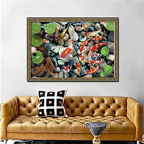 Tranh treo tường - tranh cá cửu ngư quần hội - Cá chép hoa sen: 2414L8