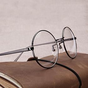 Gọng kính cận, Kính giả cận Mắt tròn Kim loại cao cấp + Tặng Tuavit Kính Xinh mini tiện lợi