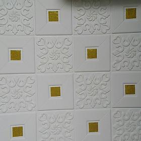 10 tấm xốp dán tường giả da điểm vàng
