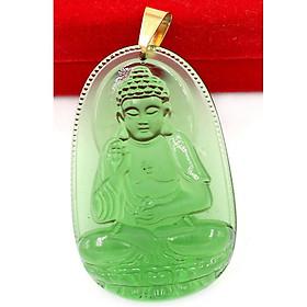 Mặt dây chuyền Phật Bản Mệnh 12 Con Giáp pha lê xanh lá móc inox vàng - Mang lại may mắn, bình an