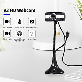 640*480P PC Webcam Full HD Web Cam USB Portable Laptop Desktop High-Definition Webcam 30fps Camera with Built-in