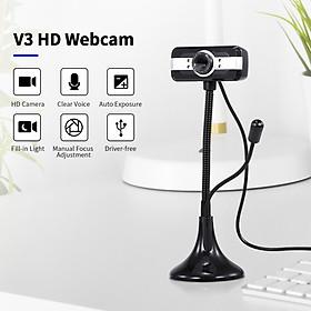 640*480P PC Webcam Full HD Web Cam USB Portable Laptop Desktop High-Definition Webcam 30fps Camera with Built-in