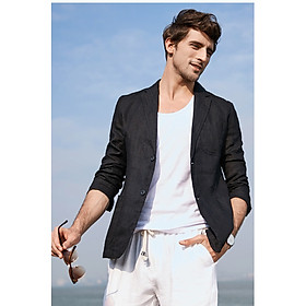 Áo vest blazer Linen nam dáng lửng, chất vải linen tự nhiên mềm mại, thời trang phong cách lịch lãm - Đen