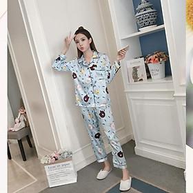 Đồ bộ Pijama lụa áo dài tay, quần dài - Đồ Mặc Nhà Nữ Cao Cấp Hàng Loại 1 Mềm Mại B57