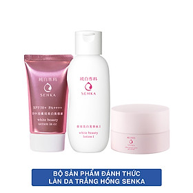 Bộ sản phẩm Senka đánh thức làn da trắng hồng (CC Serum Senka 40g + Senka White Beauty Lotion I 200ml + Senka White Beauty Glow Gel Cream 50g)