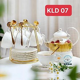 Bộ ấm chén sứ xương kèm khay ️ ̂́️ Bộ tách trà sứ xương phong cách hoàng gia có đế hâm nóng