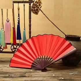Quạt xếp cổ trang nam cầm tay trắng đen đỏ vàng múa quạt nan 31cm quà tặng trưng bày