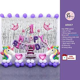 Trang trí sinh nhật chủ đề ngựa Unicorn tone màu hồng tím