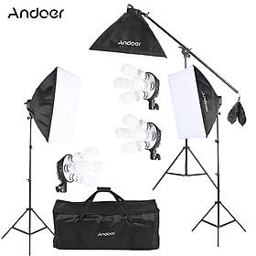 Andoer Studio Photo Video Lighting Kit with 12 * 45W Bulb / 3 * 4in1 Bulb Socket / 3 * Softbox / 3 * Light Stand / 1 *