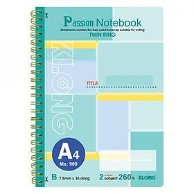 Sổ lò xo kép bìa nhựa A4 - 260 trang; Klong TP900 - màu xanh ngọc