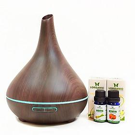 Máy khuếch tán tinh dầu bình tửu vân gỗ nâu FX2038 + tinh dầu sả chanh + tinh dầu bưởi chùm Lorganic (10ml x 2) LGN0350