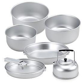 Portable Outdoor Camping Cookware Set Lightweight Anodized Aluminum Cookset Cooking Pot Pan Tea Kettle Set with Handle