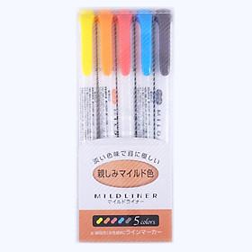 Bút đánh dấu highlight Zebra Mildliner, set 5 bút (nhãn cam)