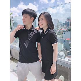 Set đồ đôi áo váy cặp CoupleTina 100% cotton cao cấp  - Màu đen